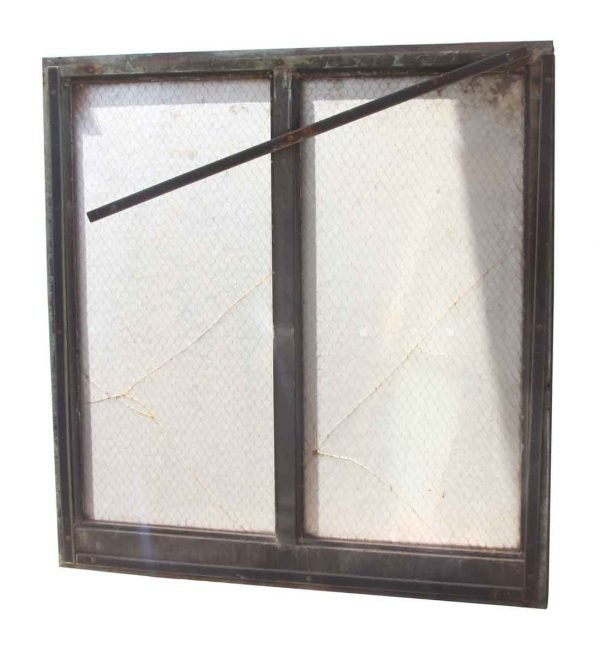 Verdigris Green Copper Double Pane Chicken Wire Glass Window - Reclaimed Windows