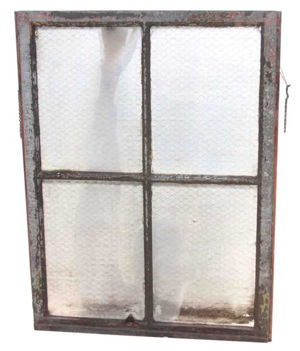 Four Pane Chicken Wire Glass Window with Galvanized Metal Frame - Reclaimed Windows