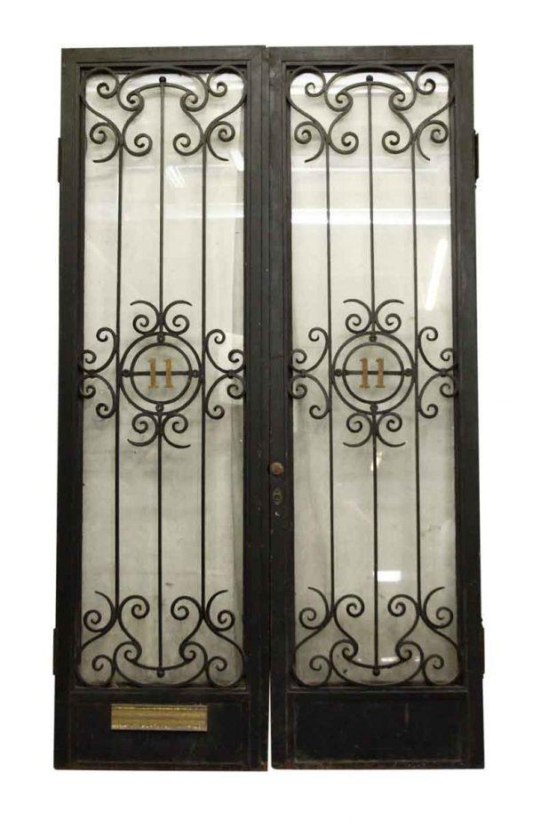Pair of Decorative Iron & Glass Doors - Entry Doors