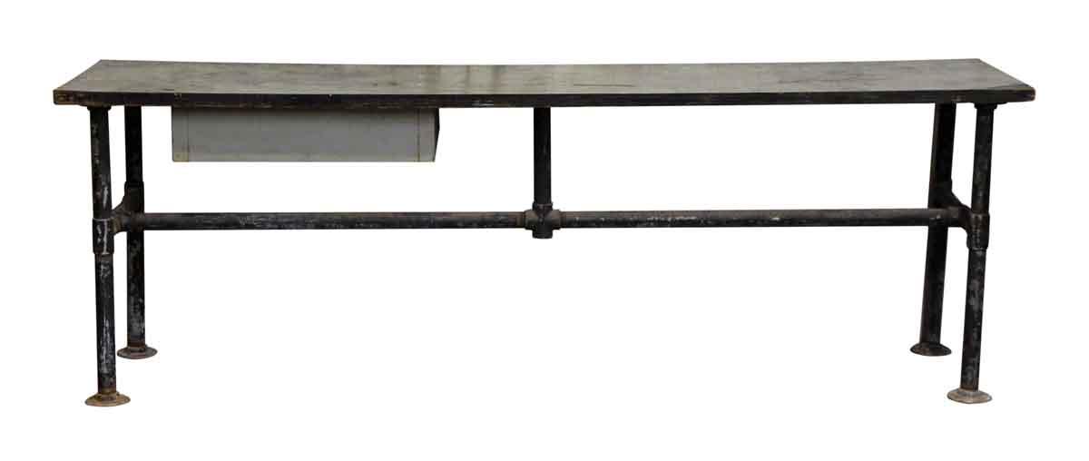 Black Metal Work Table With Wood Top U0026 Single Drawer