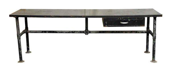 Black Metal Work Table with Wood Top & Single Drawer - Industrial