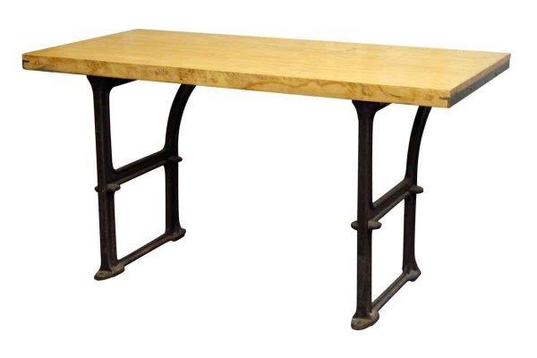 Butcher Block Table with Cast Iron Machine Leg Base - Industrial
