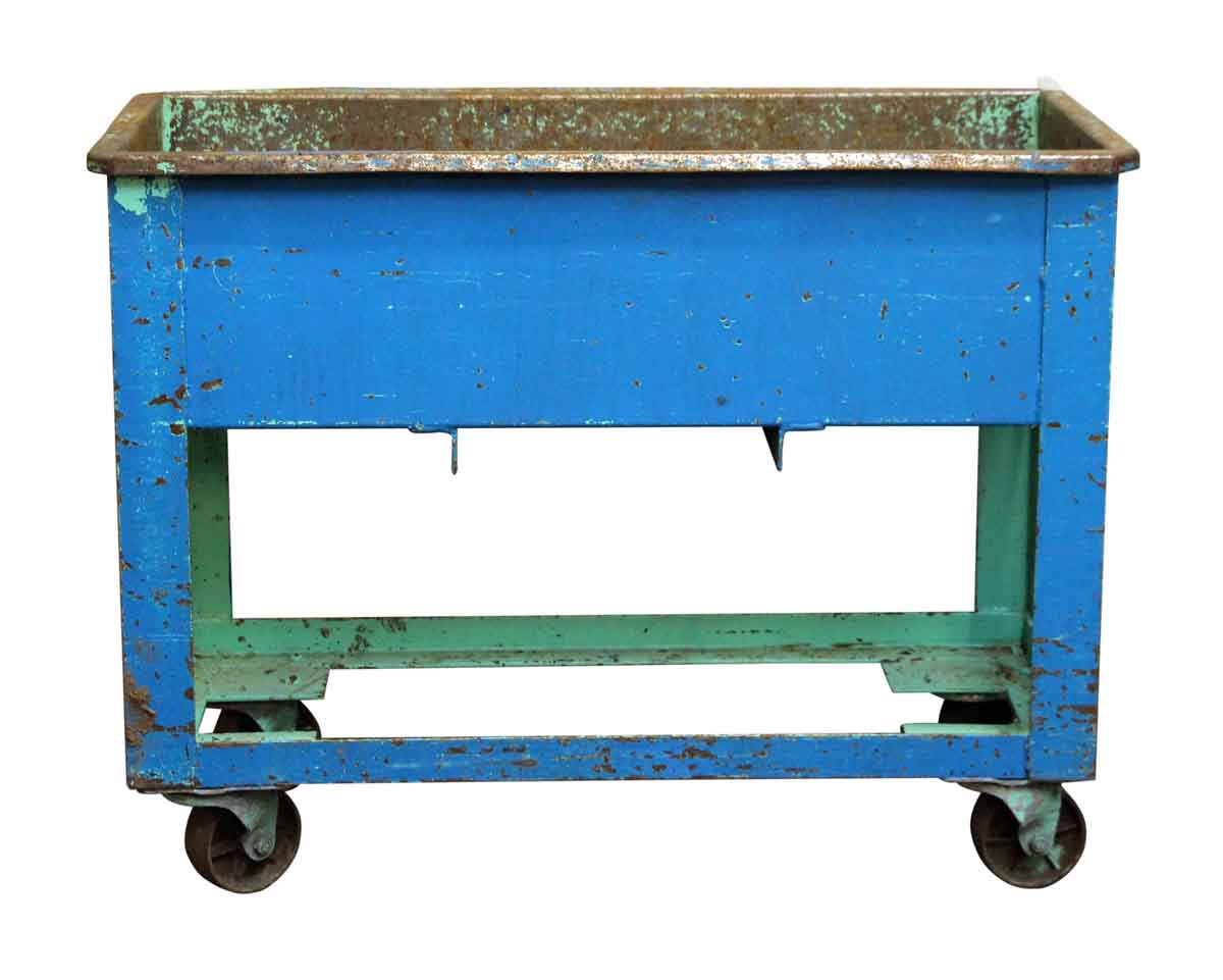 Blue & Green Rolling Industrial Tub Cart | Olde Good Things