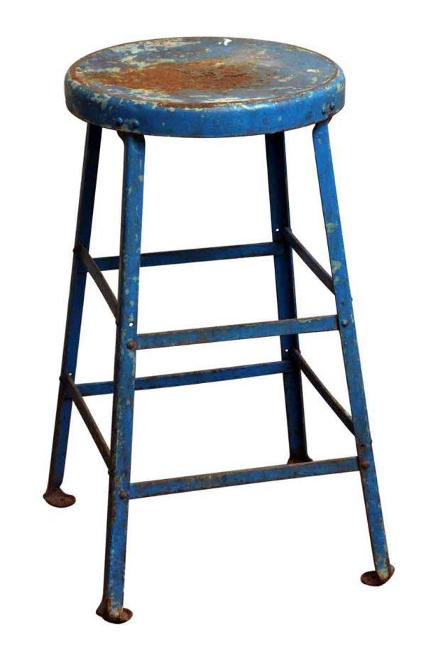Blue Industrial Metal Stool - Seating