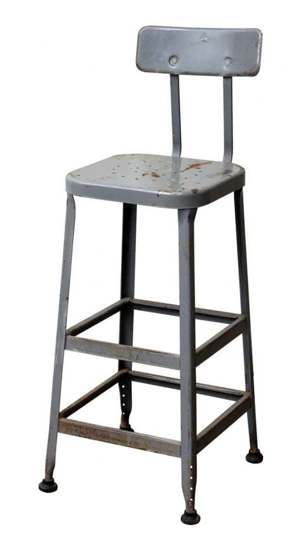 Gray Industrial Tall Back Stool - Industrial
