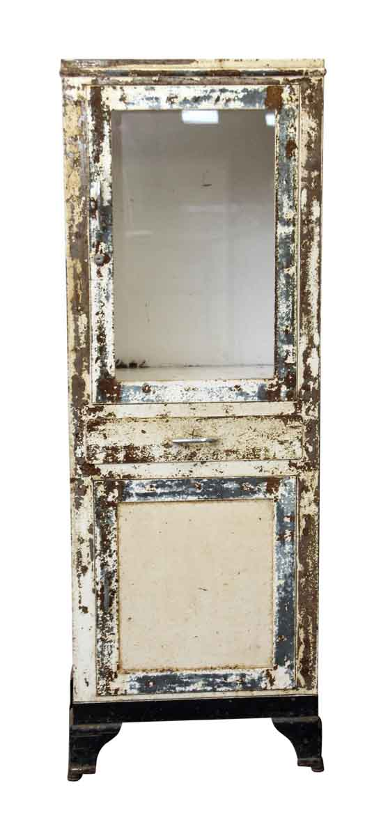 Distressed Metal Cabinet with Cast Iron Feet - Cabinets