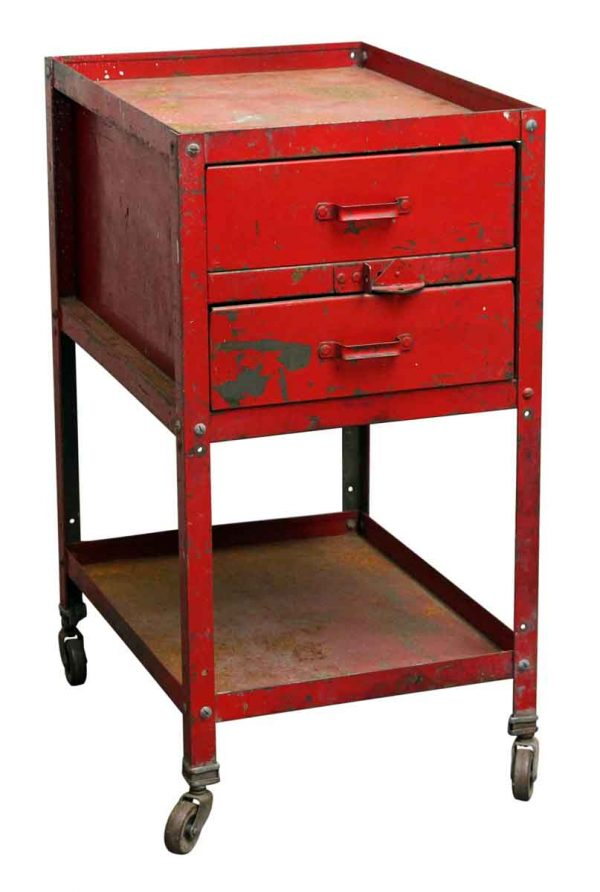 Red Two Drawer Tool Cart - Industrial