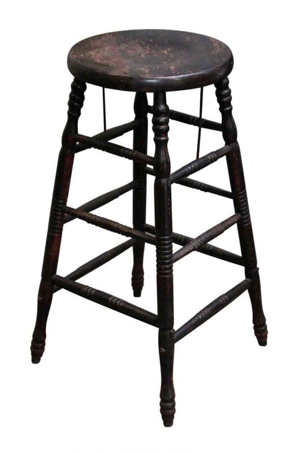 Black Worn Wooden Stool - Seating