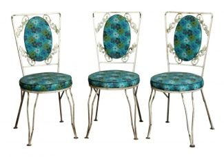 Set Of Three Blue Floral Vintage Patio Chairs