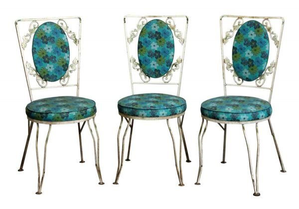 Set of Three Blue Floral Vintage Patio Chairs - Patio Furniture