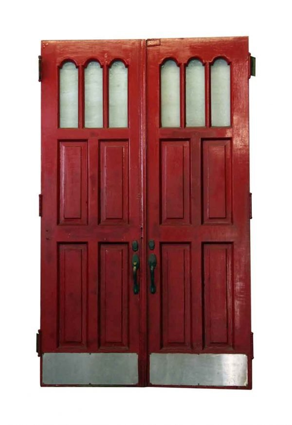 Pair of Seven Panel Red & Black Doors - Entry Doors