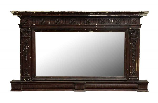 Victorian Dark Stained Over Mantel Mirror - Overmantels & Mirrors