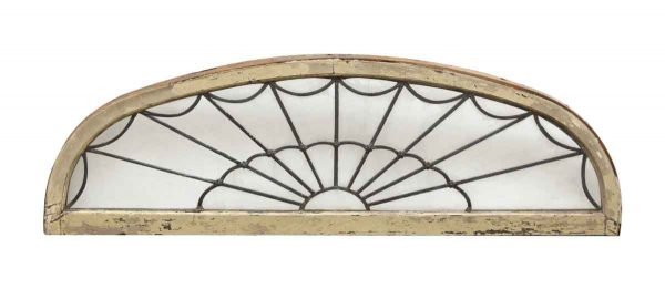 Leaded Glass Wood Frame Window with Floral Detail - Door Transoms