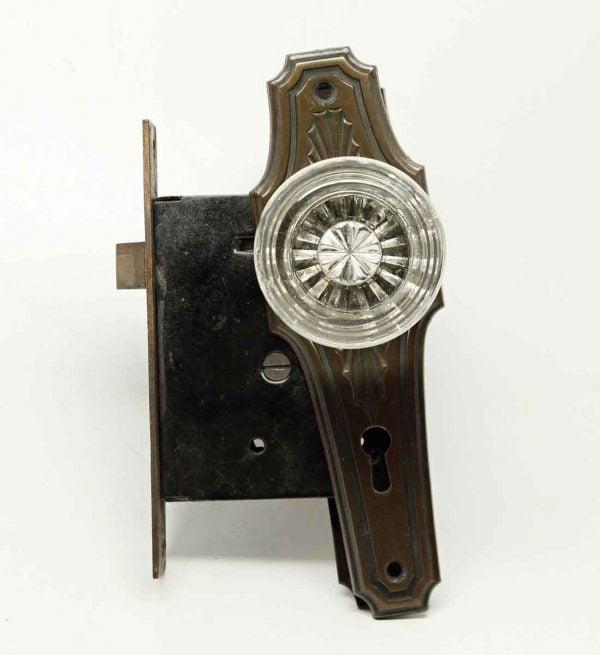 Art Deco Glass Doorknob & Plate Set - Door Knob Sets