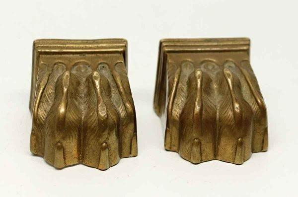 Pair of Inscribed Bronze Claw Feet - Other Cabinet Hardware