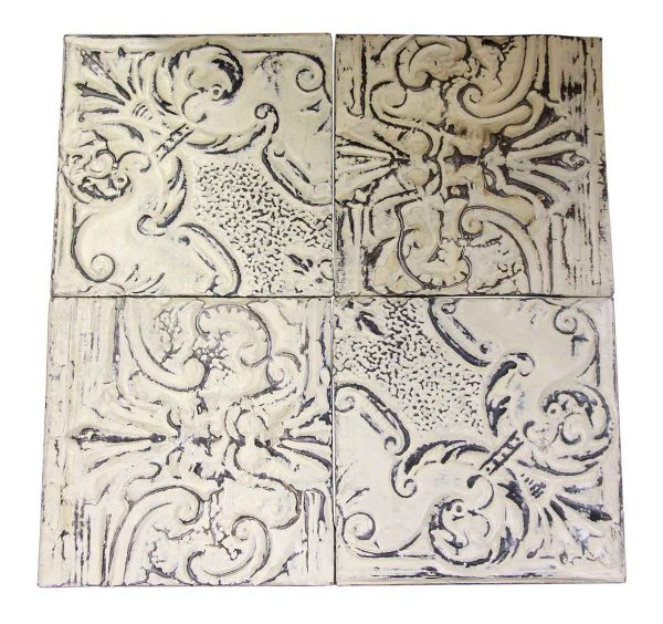 Antique White Ornate Antique Tin Panel Set - Tin Panels