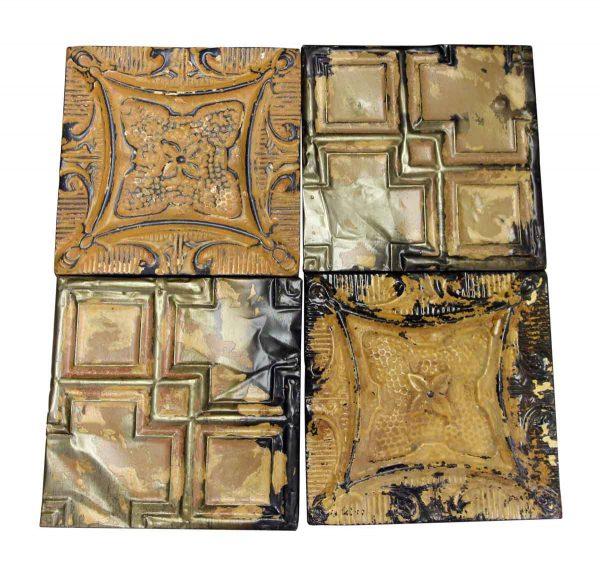 Brown Mixed Floral & Geometric Tin Panel Set - Tin Panels