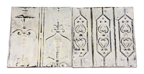 Pair of Antique White Tin Panels - Tin Panels