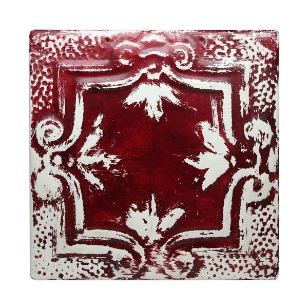 Red Four Leaf Tin Panel - Tin Panels