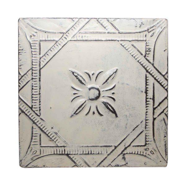 White Floral Antique White Tin Panel - Tin Panels