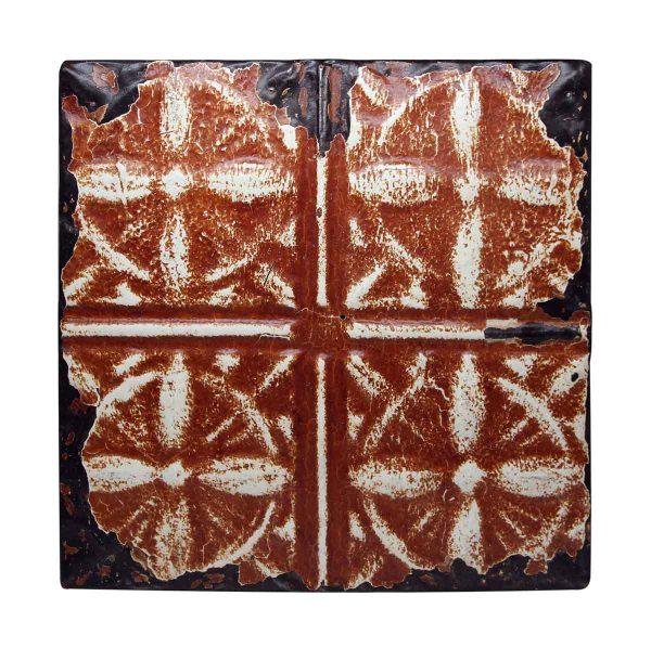 Four Fold Dark Orange Antique Tin Panel - Tin Panels