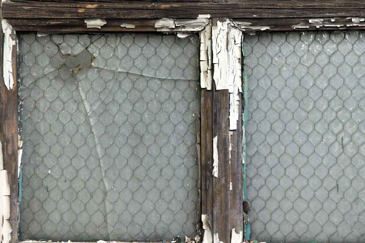 Large Wooden Doors with Six Chicken Wire Glass Panels | Olde Good Things
