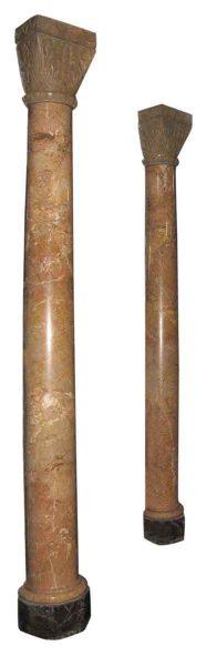 Decorative Pair Marble Half Columns - Columns & Pilasters