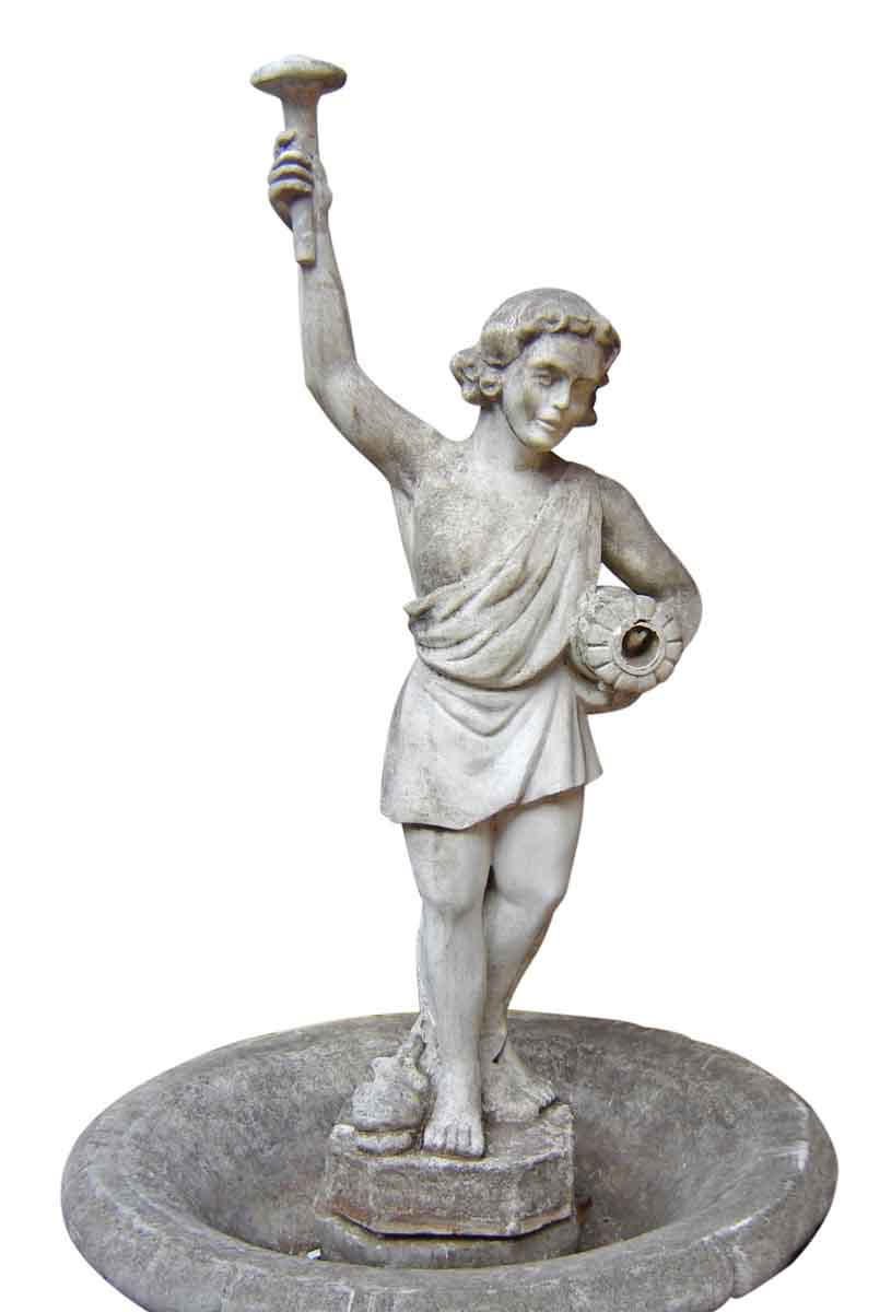 Old Garden Statue: Garden Cement Fountain With Statue Of Boy Holding A Torch