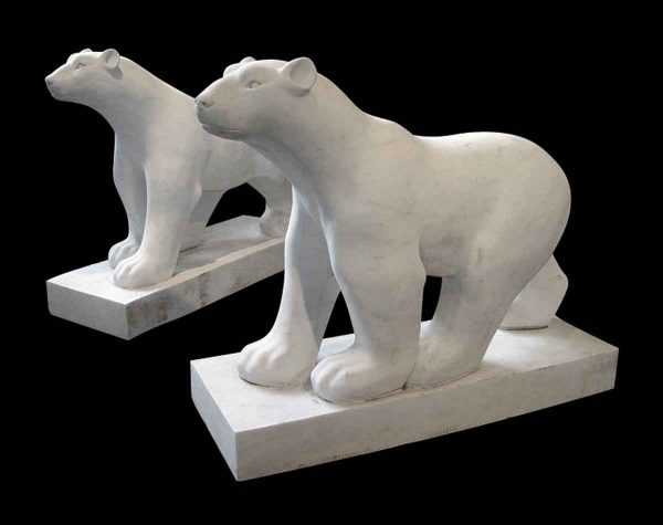 Pair of Art Deco Style Carved Polar Bears - Statues & Fountains