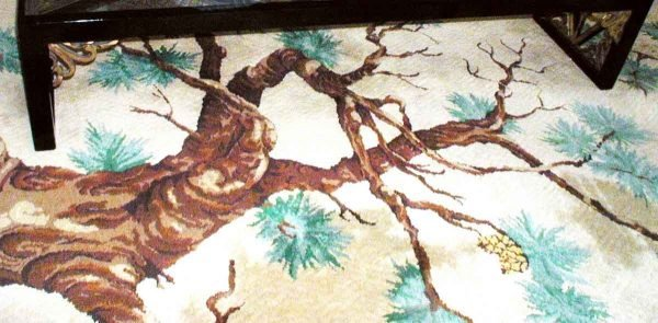 Turquoise & Brown Rug with Tree Motif - Rugs & Drapery