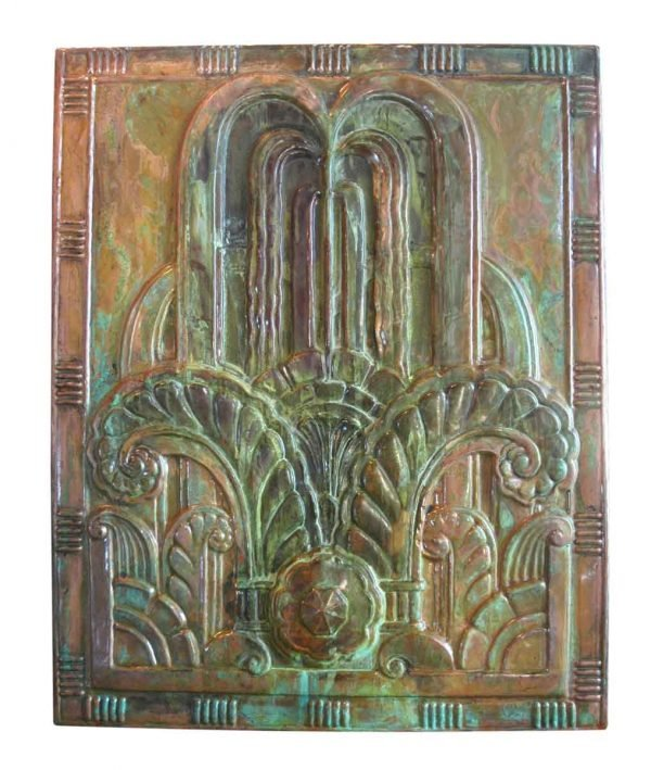 Art Deco Style Copper Panel with Patina - Copper Mirrors & Panels