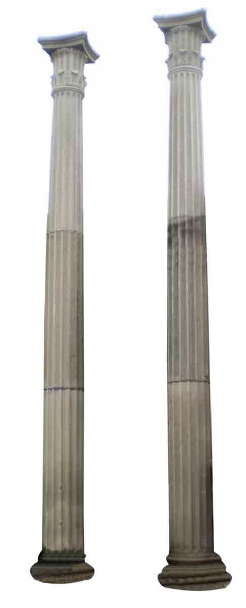 Pair of Tall Limestone Columns with Doric Capitals - Columns & Pilasters