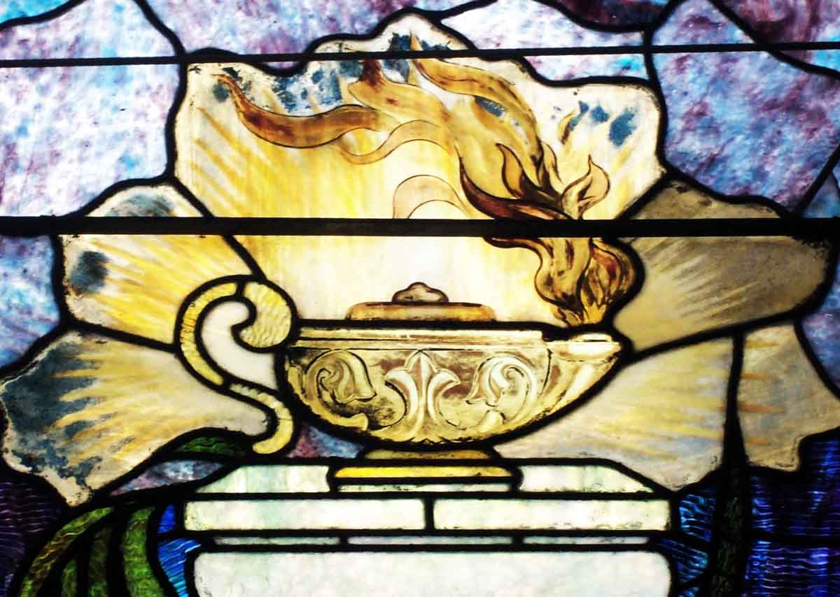 Burning Oil Lamp Stained Glass Window | Olde Good Things