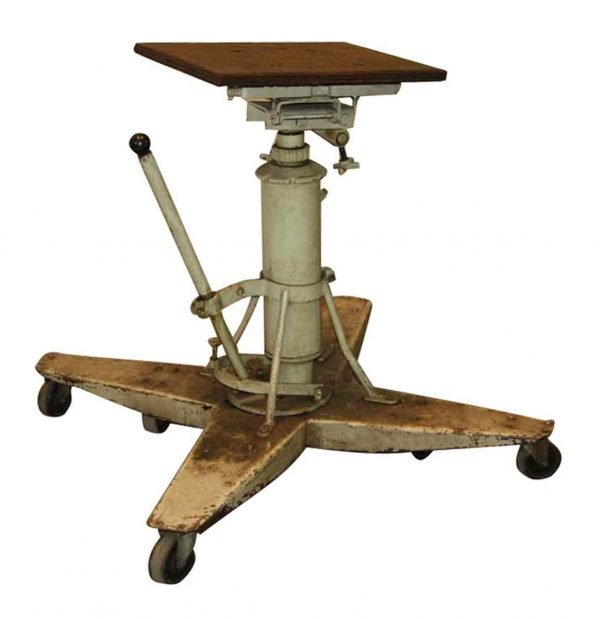 Antique Industrial Steel Rolling Table with Adjustable Height - Industrial