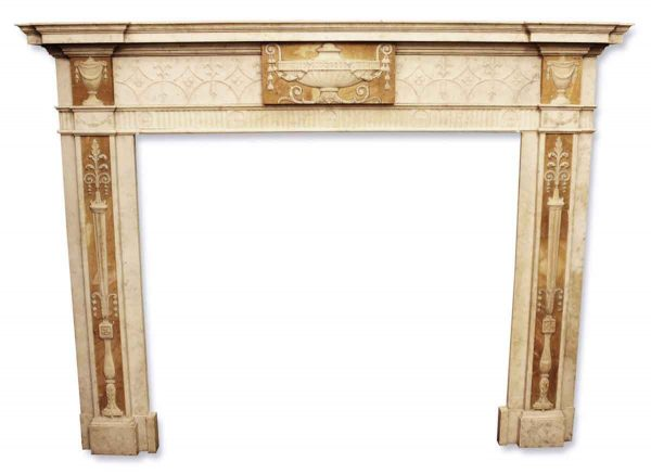 Georgian Style Statuary Marble Mantel with Sienna Marble Panels - Mantels