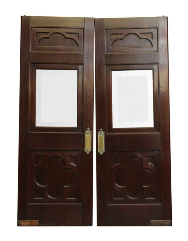 Clover Burled Walnut Doors with Original Ornate Push Plates - Specialty Doors