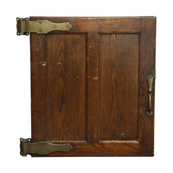 Antique Wood Refrigerator Door with Bronze Hardware - Cabinet Doors