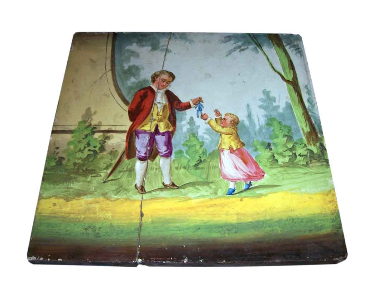 Man Giving Toy To Child Vintage Hand Painted Tile Olde