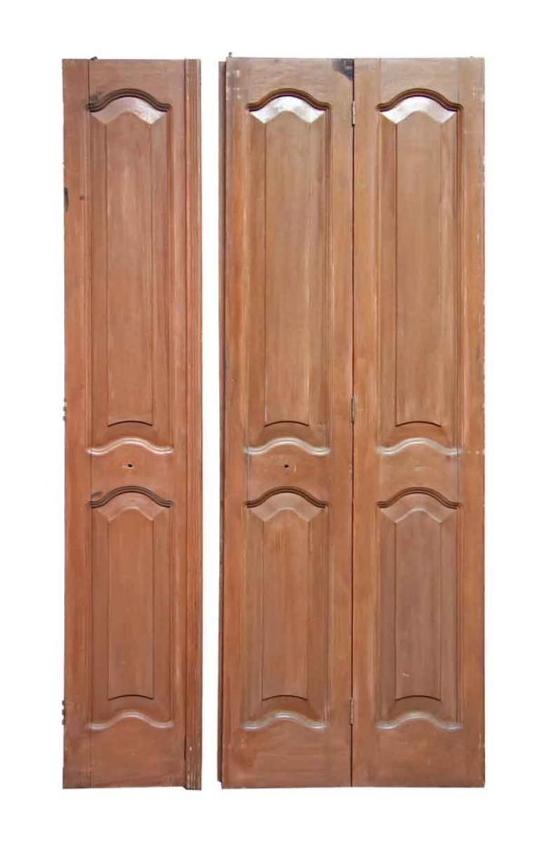 Antique Mahogany Folding Doors with Arched Panels - Closet Doors