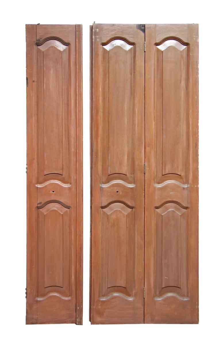 Antique Mahogany Folding Doors with Arched Panels - Antique Mahogany Folding Doors With Arched Panels