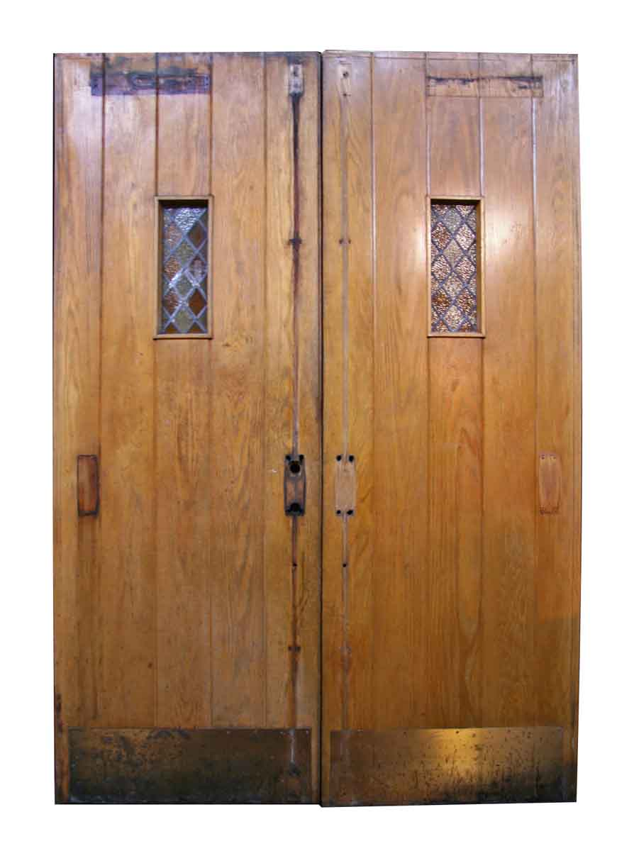 Antique Oak Double Doors With Leaded Glass Olde Good Things
