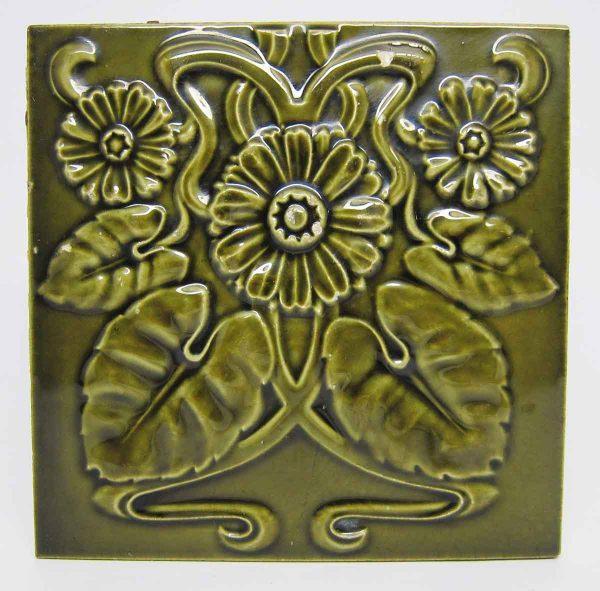 Green Art Nouveau Daisy Flower Tile - Wall Tiles