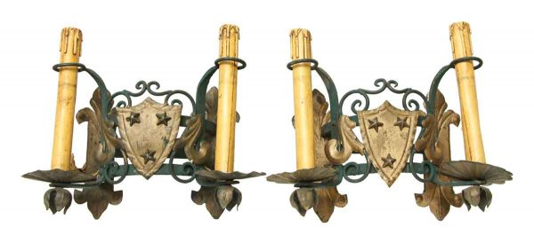 Stars & Shield Iron Sconces - Sconces & Wall Lighting