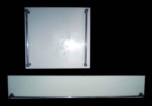 Set of Two Milk Glass Towel Racks - Bathroom