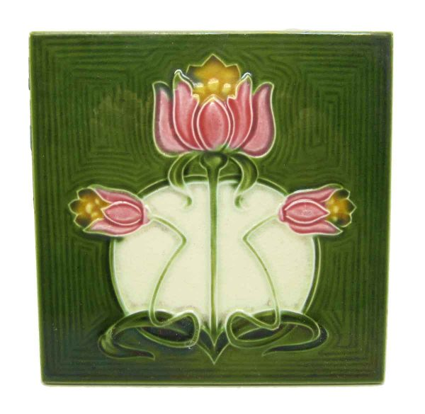 Green Tile with Pink Flowers - Wall Tiles