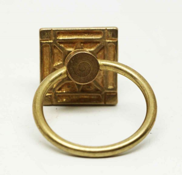 Polished Brass Round Pulls with Decorative Square Back - Cabinet & Furniture Pulls