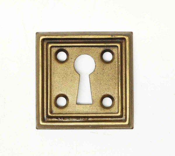 Pressed Brass Square Ribbed Edge Keyhole Cover - Keyhole Covers