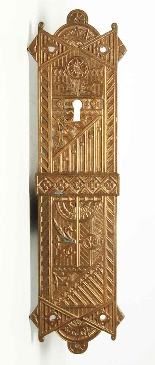 Eastlake Bronze Ornate Push Plate with Keyhole - Push Plates