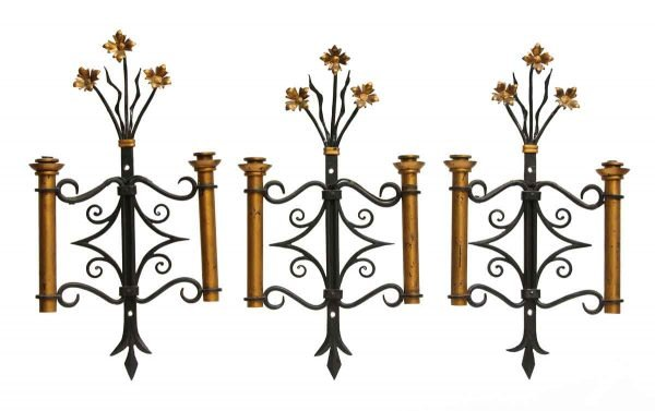 Set of Three Adjustable Wrought Iron Candle Sconces - Sconces & Wall Lighting