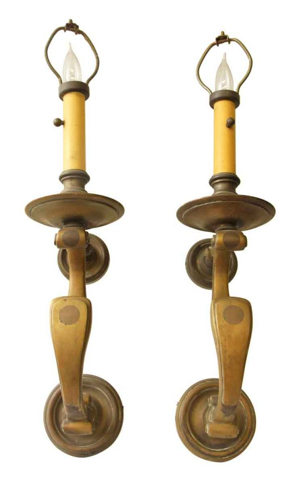 Pair of Bronze Colonial One Arm Sconces - Sconces & Wall Lighting